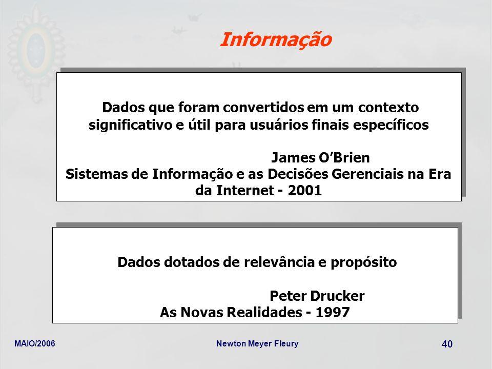 MAIO/2006Newton Meyer Fleury 40 Informação Dados que foram convertidos em um contexto significativo e útil para usuários finais específicos James OBri