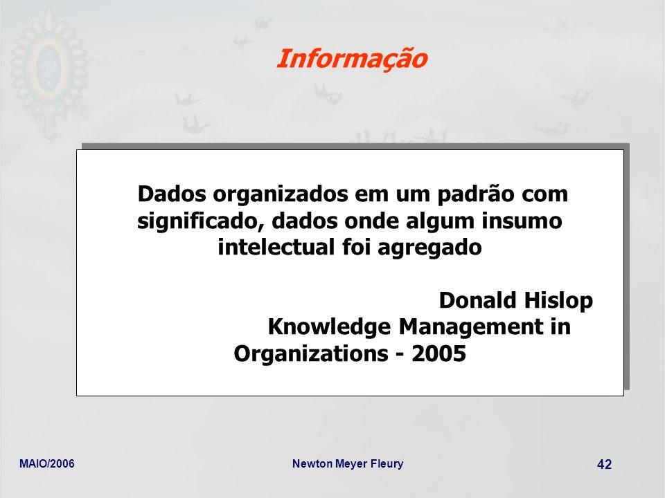 MAIO/2006Newton Meyer Fleury 42 Informação Dados organizados em um padrão com significado, dados onde algum insumo intelectual foi agregado Donald His