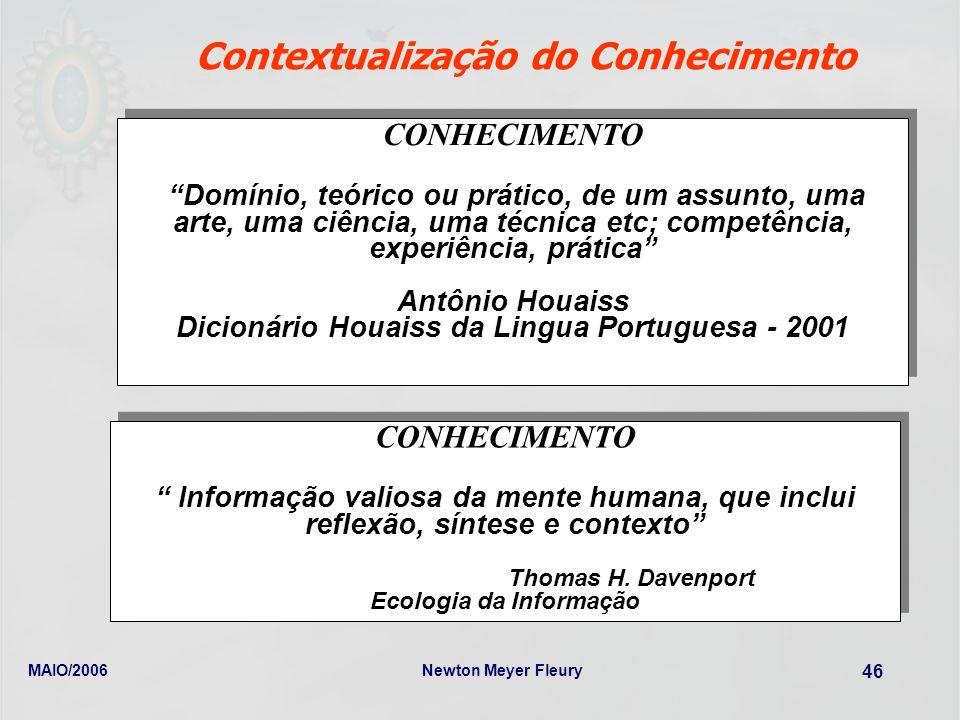 MAIO/2006Newton Meyer Fleury 46 Contextualização do Conhecimento CONHECIMENTO Domínio, teórico ou prático, de um assunto, uma arte, uma ciência, uma t