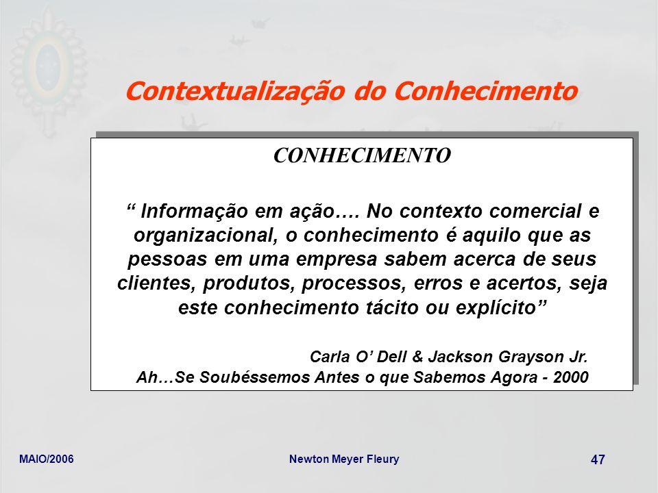 MAIO/2006Newton Meyer Fleury 47 Contextualização do Conhecimento CONHECIMENTO Informação em ação…. No contexto comercial e organizacional, o conhecime