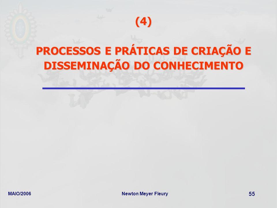 MAIO/2006Newton Meyer Fleury 55 (4) PROCESSOS E PRÁTICAS DE CRIAÇÃO E DISSEMINAÇÃO DO CONHECIMENTO