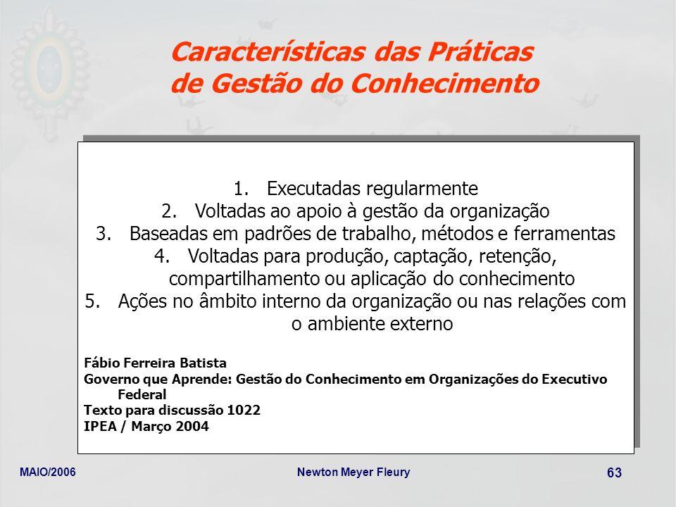 MAIO/2006Newton Meyer Fleury 63 Características das Práticas de Gestão do Conhecimento 1.Executadas regularmente 2.Voltadas ao apoio à gestão da organ