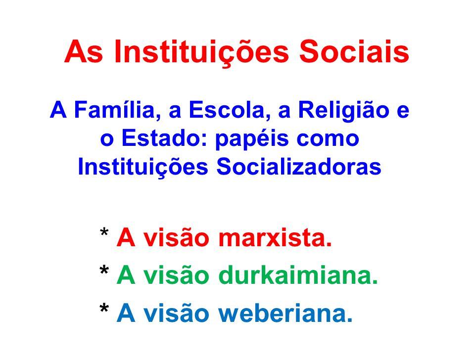 A INSTITUIÇÃO SOCIAL Características básicas de toda Instituição Social: -Ter força ou poder: impor padrões; -Aceitação: autoridade moral; -Perenidade: duração no tempo; -Procedimentos padronizados: regras; -Objetividade: legítima; -Exterioridade: realidade própria.