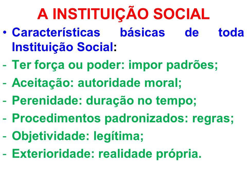 A INSTITUIÇÃO SOCIAL Características básicas de toda Instituição Social: -Ter força ou poder: impor padrões; -Aceitação: autoridade moral; -Perenidade