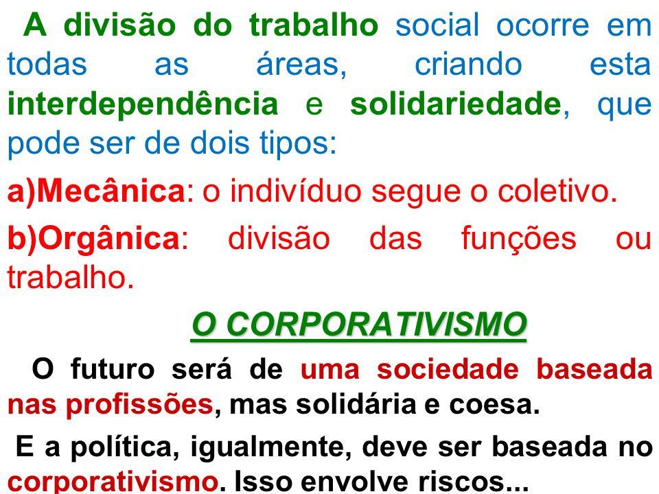 A divisão do trabalho social ocorre em todas as áreas, criando esta interdependência e solidariedade, que pode ser de dois tipos: a)Mecânica: o indiví
