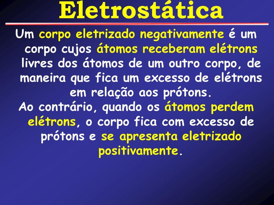 Um corpo eletrizado negativamente é um corpo cujos átomos receberam elétrons livres dos átomos de um outro corpo, de maneira que fica um excesso de el