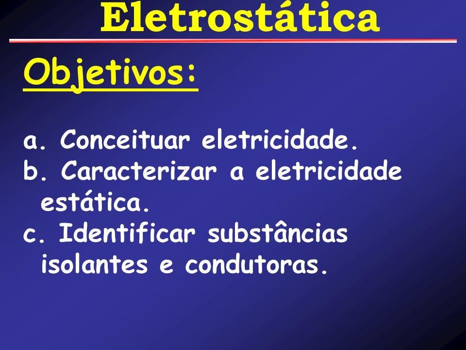 Objetivos: a. Conceituar eletricidade. b. Caracterizar a eletricidade estática. c. Identificar substâncias isolantes e condutoras.