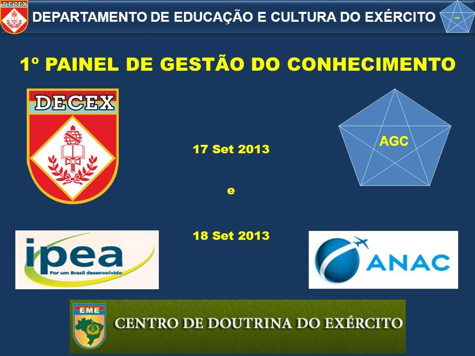 AGC 1º PAINEL DE GESTÃO DO CONHECIMENTO 17 Set 2013 18 Set 2013 DEPARTAMENTO DE EDUCAÇÃO E CULTURA DO EXÉRCITO AGC e