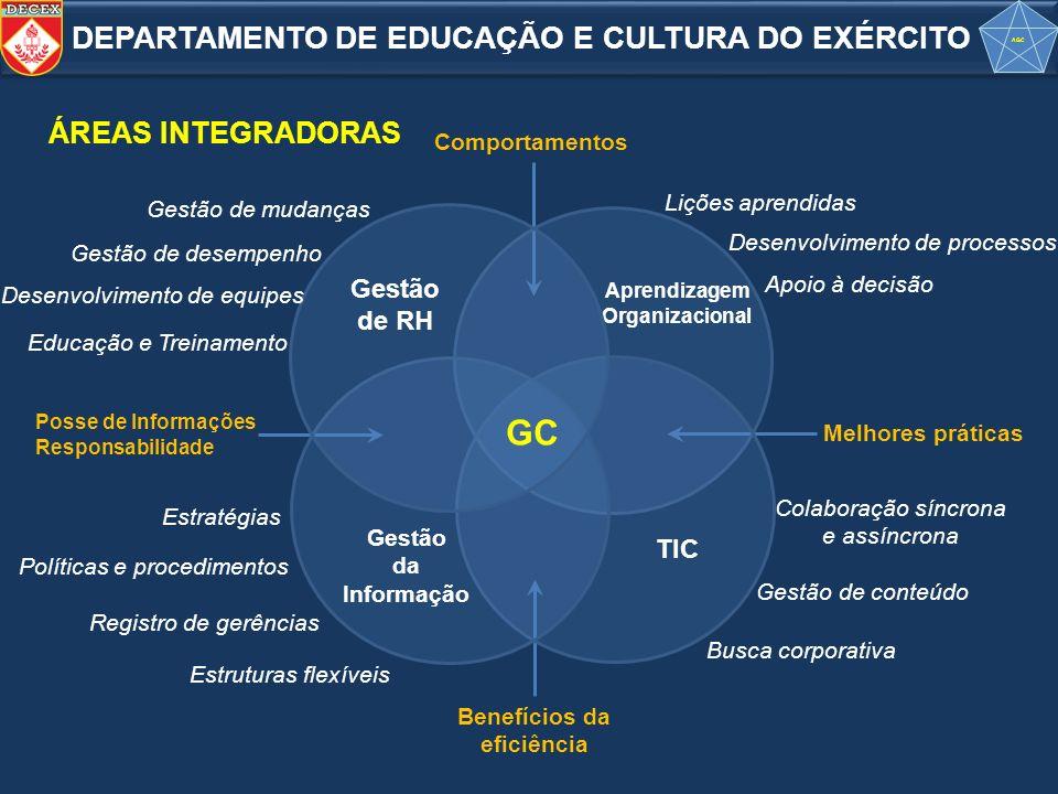 Melhores práticas Comportamentos Benefícios da eficiência Posse de Informações Responsabilidade Aprendizagem Organizacional Lições aprendidas Desenvol