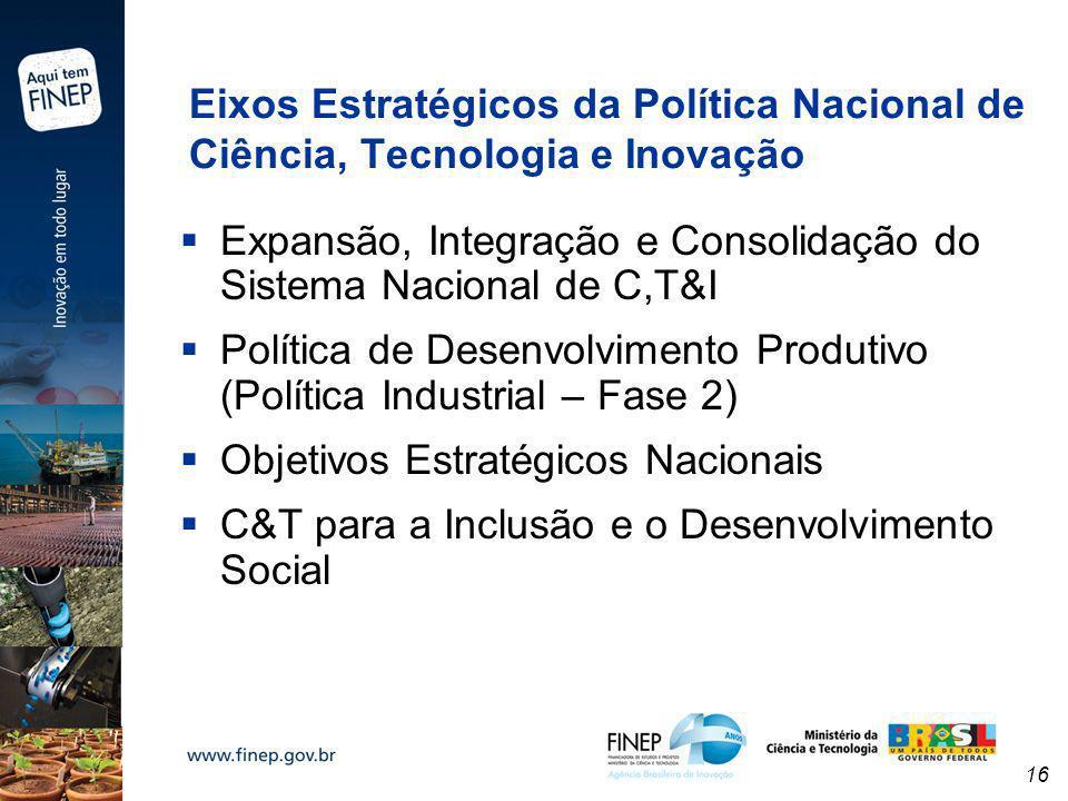 16 Eixos Estratégicos da Política Nacional de Ciência, Tecnologia e Inovação Expansão, Integração e Consolidação do Sistema Nacional de C,T&I Política
