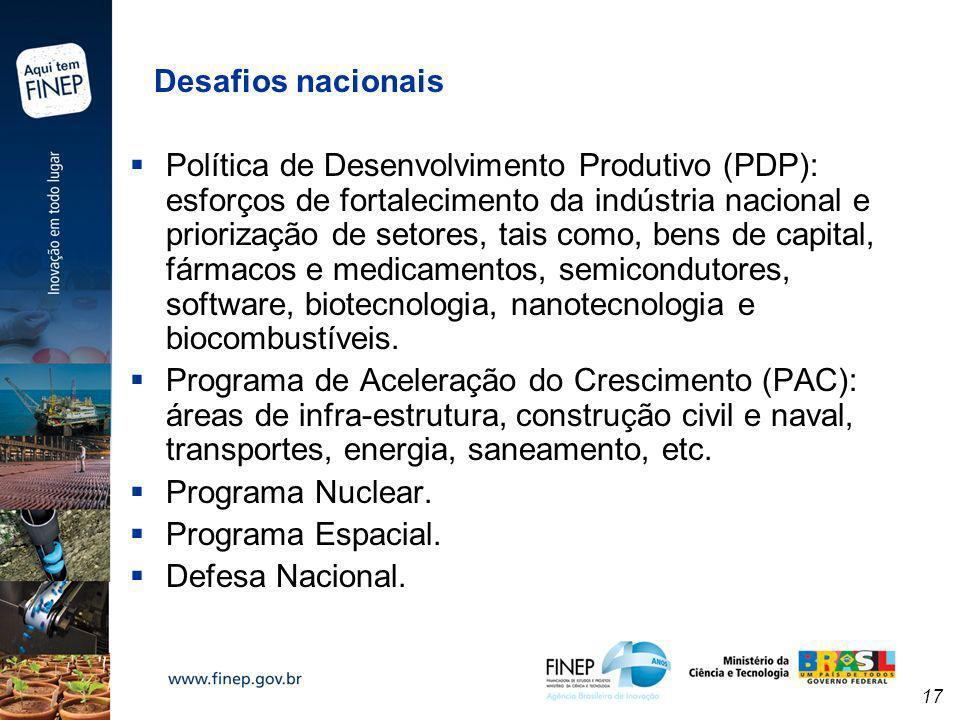 17 Desafios nacionais Política de Desenvolvimento Produtivo (PDP): esforços de fortalecimento da indústria nacional e priorização de setores, tais com