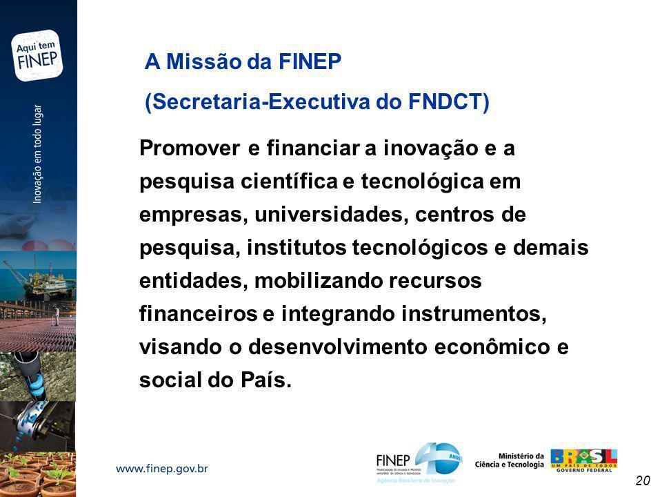 20 A Missão da FINEP (Secretaria-Executiva do FNDCT) Promover e financiar a inovação e a pesquisa científica e tecnológica em empresas, universidades,
