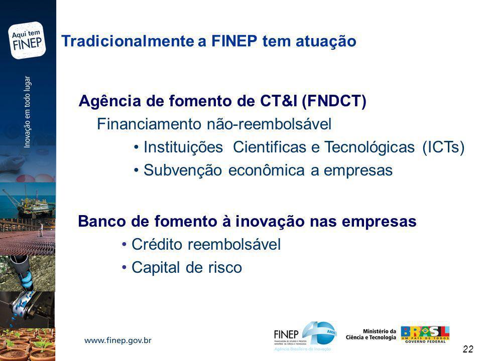 22 Tradicionalmente a FINEP tem atuação Agência de fomento de CT&I (FNDCT) Financiamento não-reembolsável Instituições Cientificas e Tecnológicas (ICT