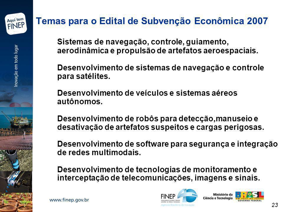 23 Temas para o Edital de Subvenção Econômica 2007 Sistemas de navegação, controle, guiamento, aerodinâmica e propulsão de artefatos aeroespaciais. De