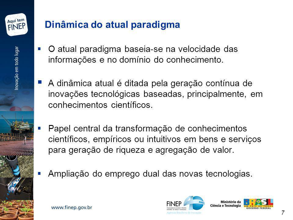 7 O atual paradigma baseia-se na velocidade das informações e no domínio do conhecimento. A dinâmica atual é ditada pela geração contínua de inovações