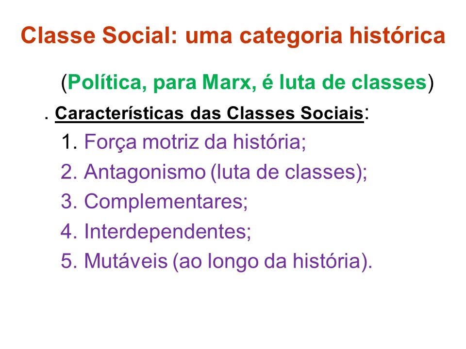 Classe Social: uma categoria histórica (Política, para Marx, é luta de classes).
