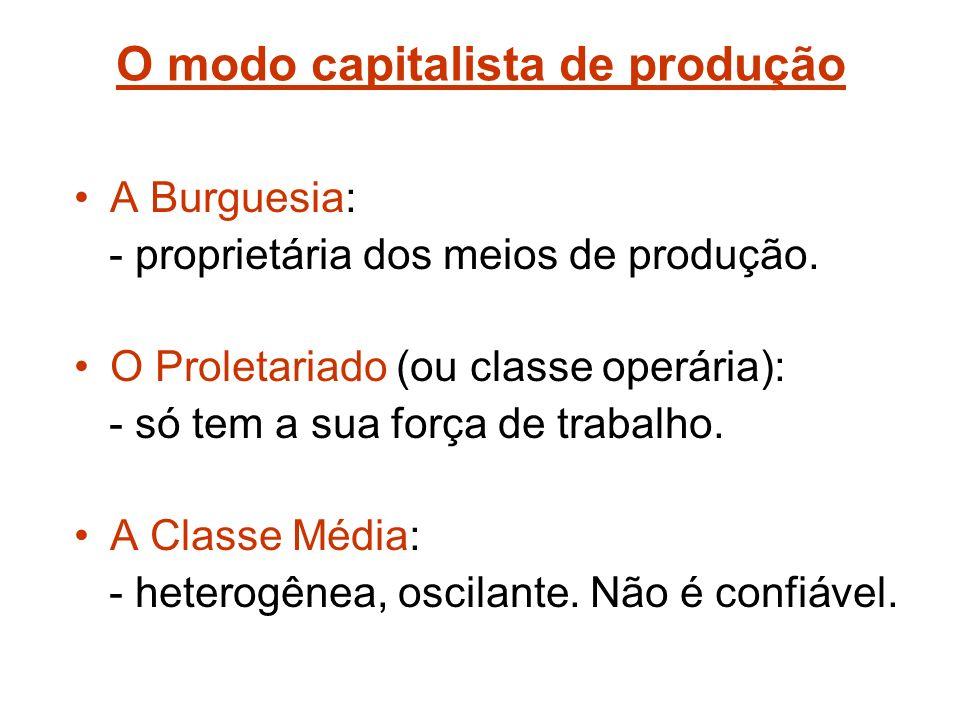 O modo capitalista de produção A Burguesia: - proprietária dos meios de produção.