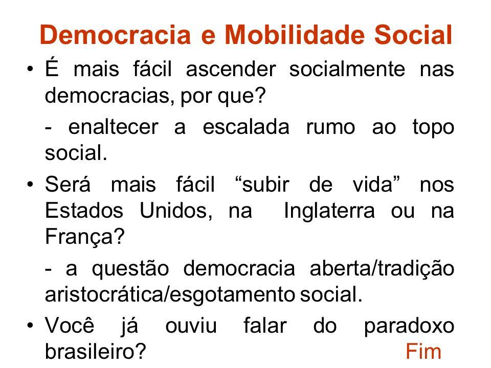 Democracia e Mobilidade Social É mais fácil ascender socialmente nas democracias, por que.