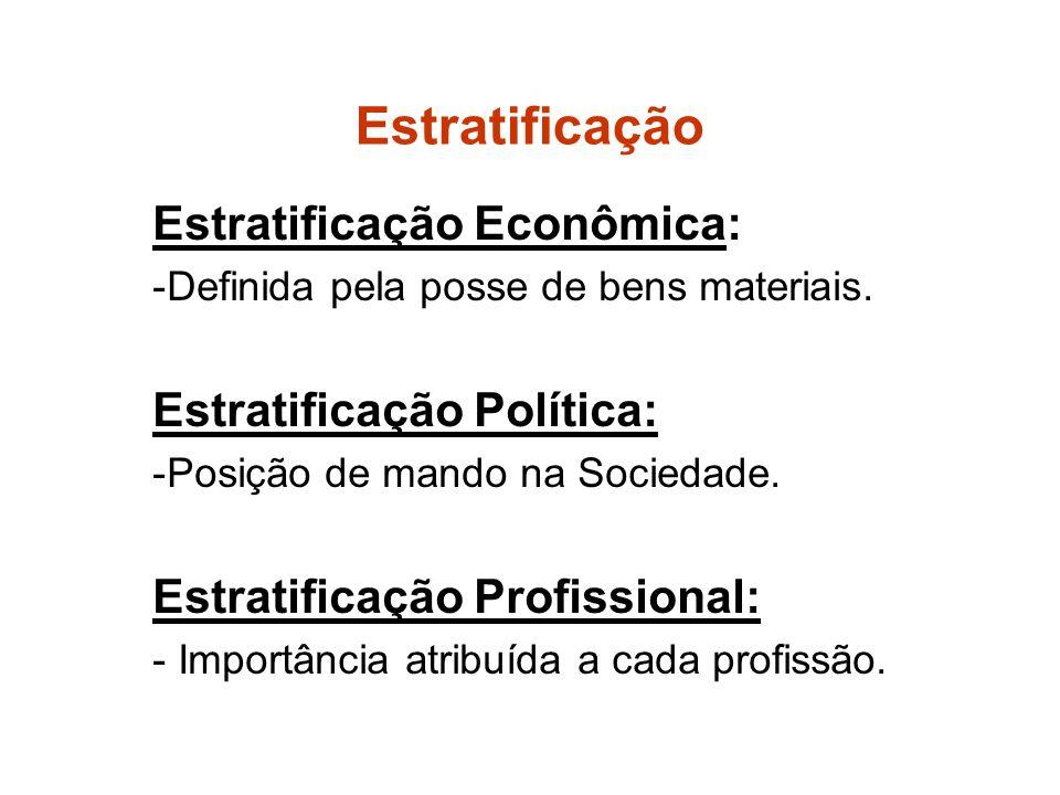 Estratificação Estratificação Econômica: -Definida pela posse de bens materiais.