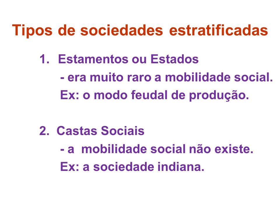 Sociedades Estratificadas: modo feudal de produção nobres comerciantes (burguesia) artesãos, baixo clero, etc...