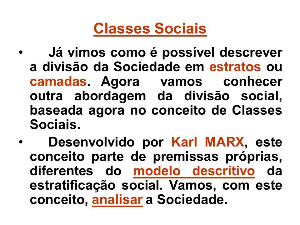 Classes Sociais Já vimos como é possível descrever a divisão da Sociedade em estratos ou camadas.