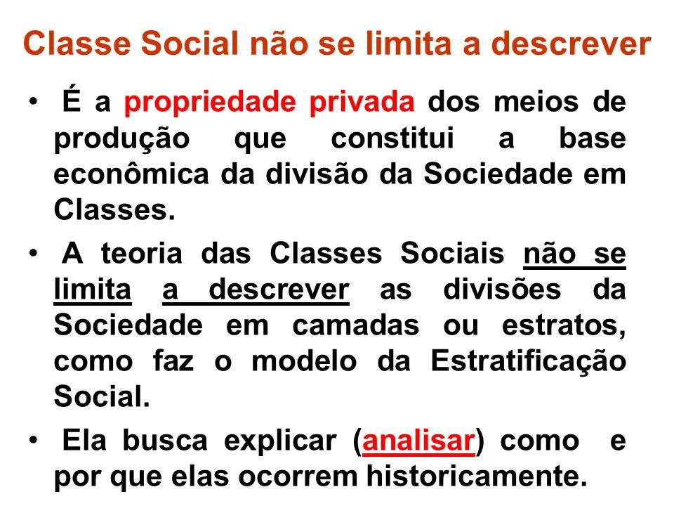 Classe Social não se limita a descrever É a propriedade privada dos meios de produção que constitui a base econômica da divisão da Sociedade em Classes.