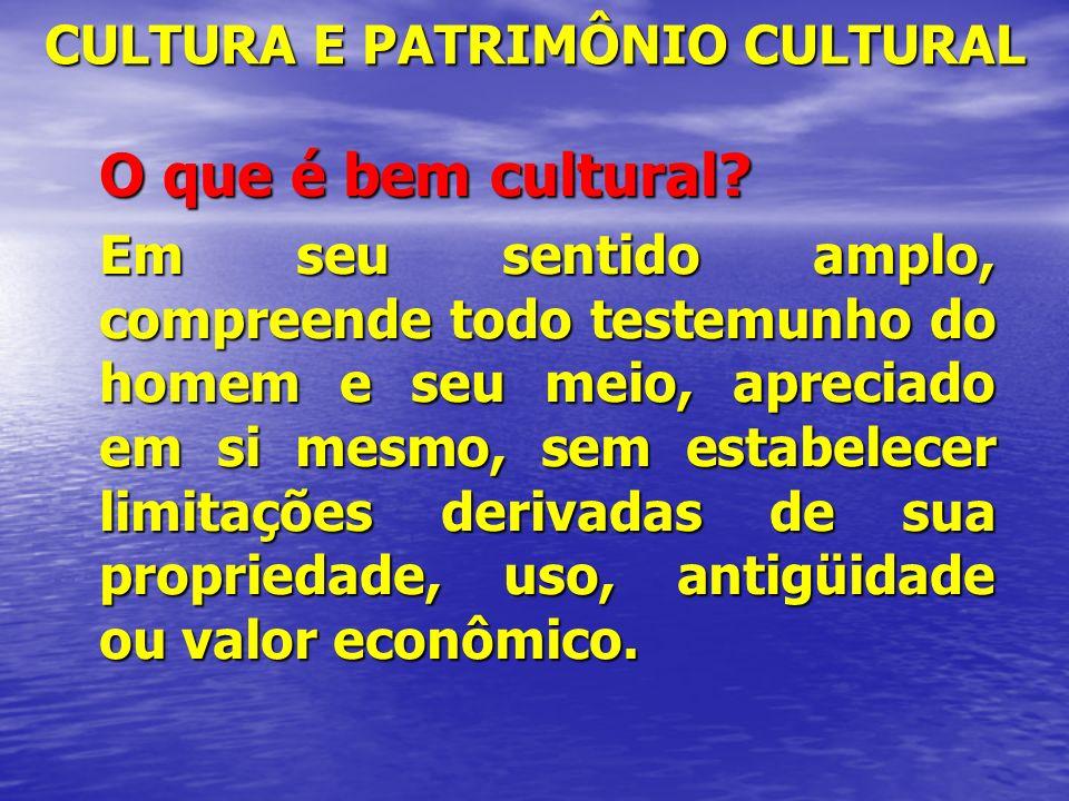 CULTURA E PATRIMÔNIO CULTURAL O que é bem cultural? Em seu sentido amplo, compreende todo testemunho do homem e seu meio, apreciado em si mesmo, sem e