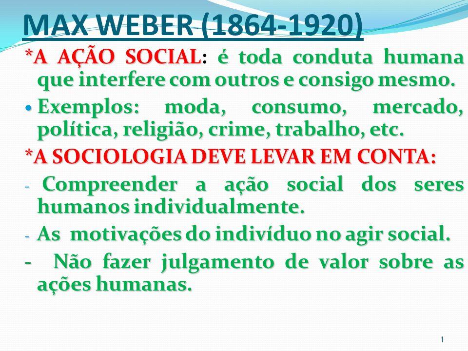 MAX WEBER (1864-1920) *A AÇÃO SOCIALé toda conduta humana que interfere com outros e consigo mesmo.