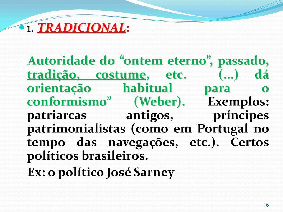TRADICIONAL 1.TRADICIONAL: Autoridade do ontem eterno, passado, tradição, costume, etc.