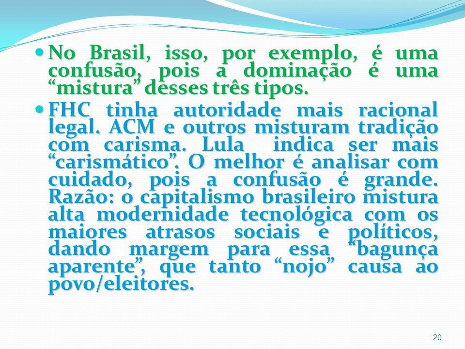 No Brasil, isso, por exemplo, é uma confusão, pois a dominação é uma mistura desses três tipos.