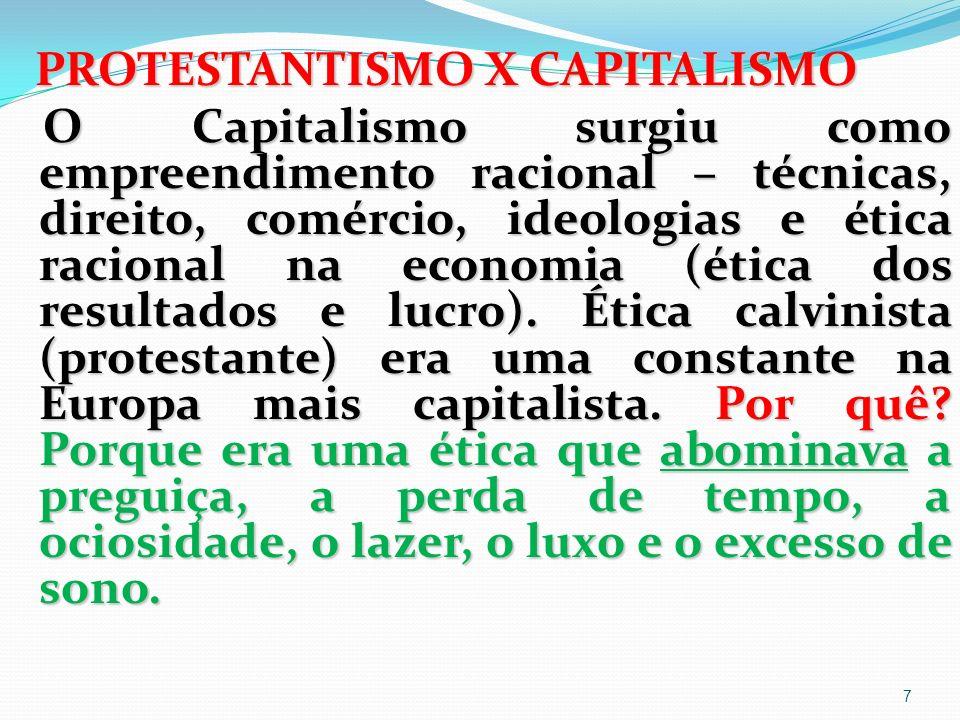 Essa teoria de Weber foi expressa na sua mais famosa obra: A Ética Protestante e o Espírito do Capitalismo.
