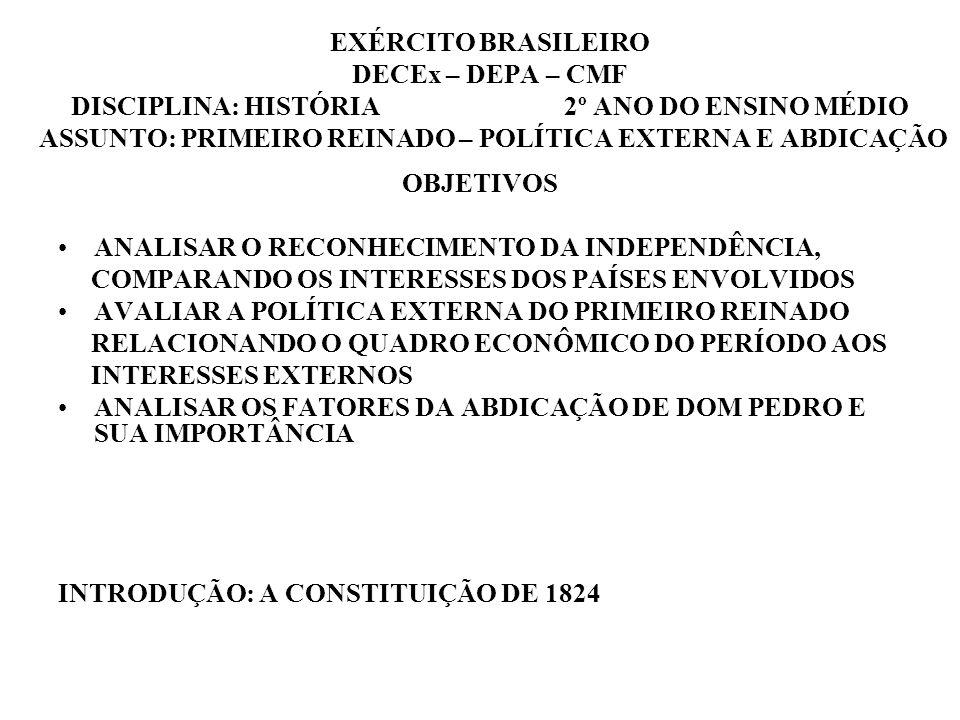 EXÉRCITO BRASILEIRO DECEx – DEPA – CMF DISCIPLINA: HISTÓRIA 2º ANO DO ENSINO MÉDIO ASSUNTO: PRIMEIRO REINADO – POLÍTICA EXTERNA E ABDICAÇÃO OBJETIVOS