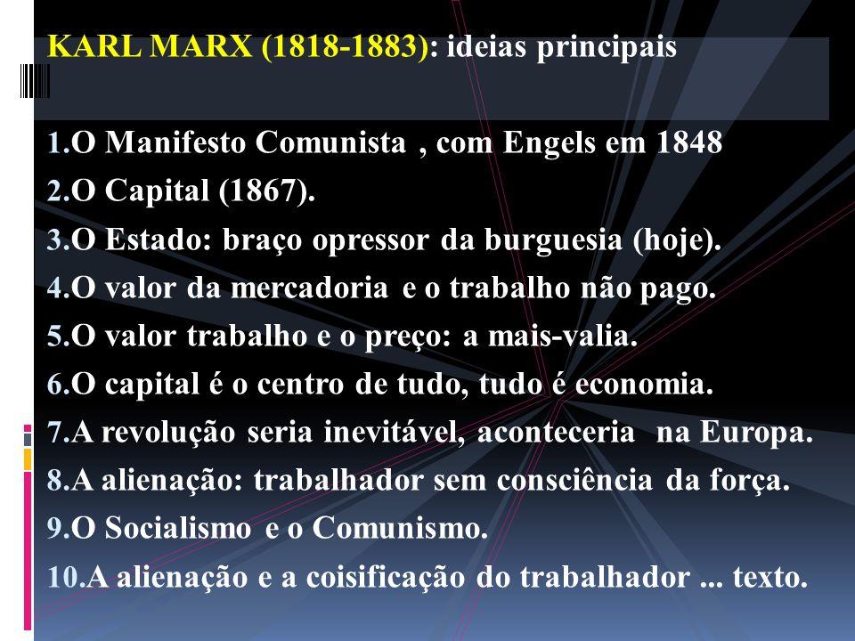 KARL MARX (1818-1883): ideias principais 1. O Manifesto Comunista, com Engels em 1848 2. O Capital (1867). 3. O Estado: braço opressor da burguesia (h