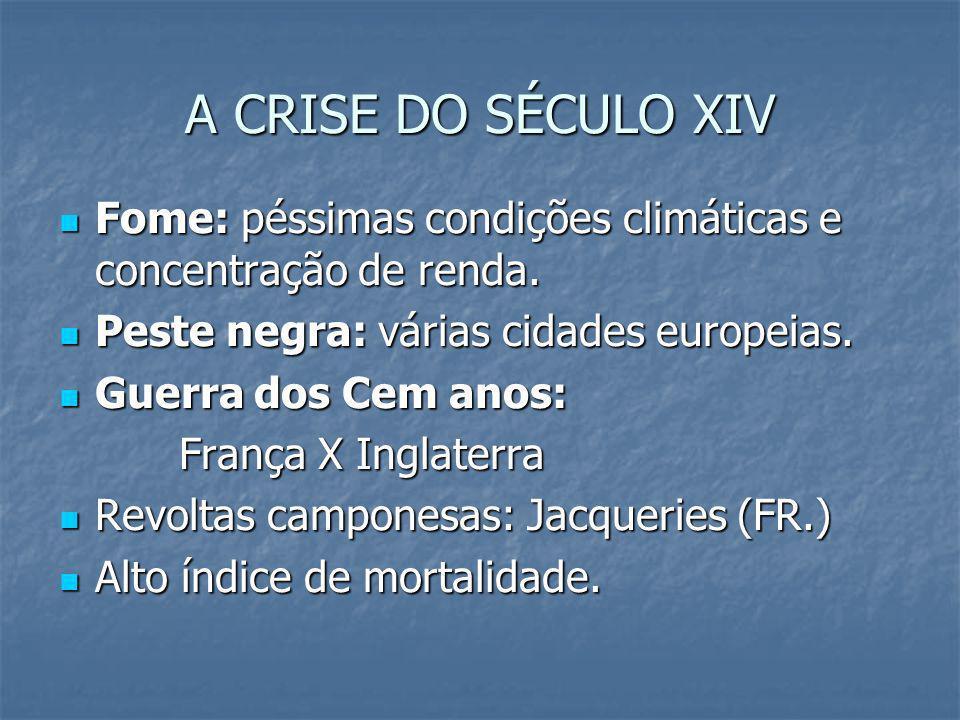 A CRISE DO SÉCULO XIV Fome: péssimas condições climáticas e concentração de renda. Fome: péssimas condições climáticas e concentração de renda. Peste