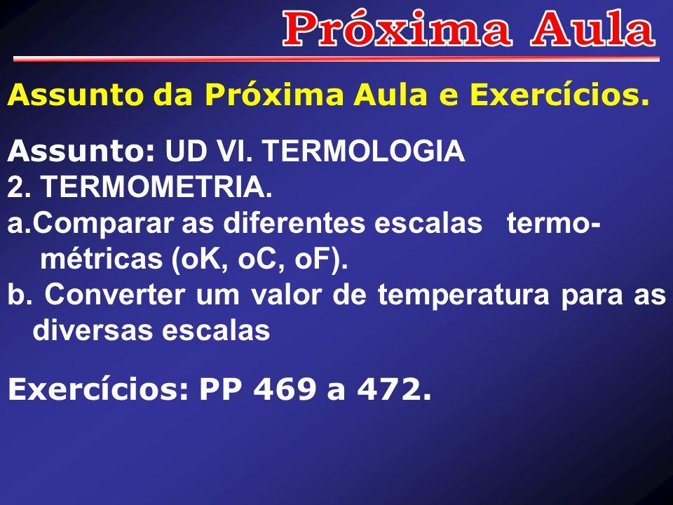 Assunto da Próxima Aula e Exercícios. Assunto: UD VI. TERMOLOGIA 2. TERMOMETRIA. a.Comparar as diferentes escalas termo- métricas (oK, oC, oF). b. Con