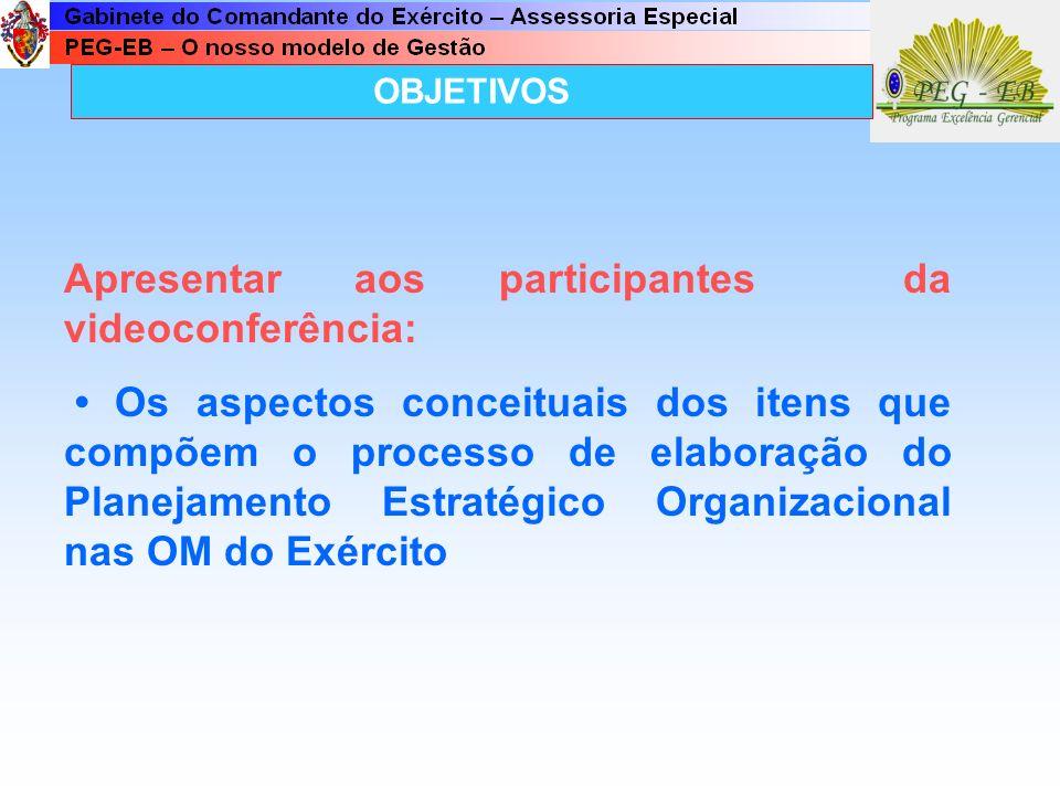 OBJETIVOS Apresentar aos participantes da videoconferência: Os aspectos conceituais dos itens que compõem o processo de elaboração do Planejamento Estratégico Organizacional nas OM do Exército