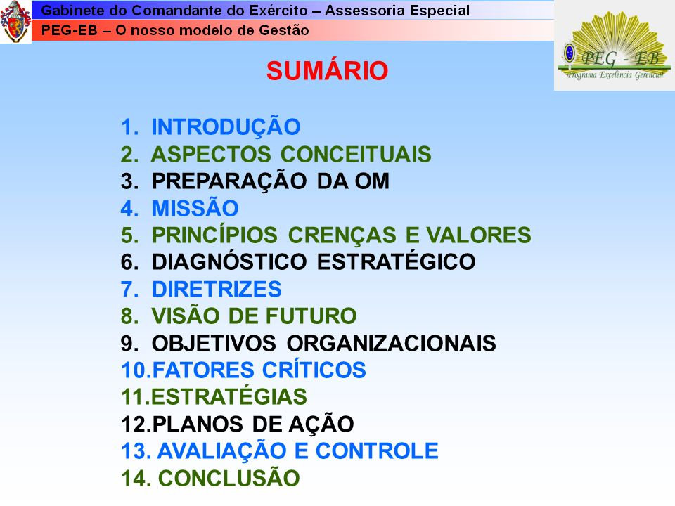 PREPARAÇÃO DA OM PARA O PLANEJAMENTO ESTRATÉGICO MISSÃO OBJETIVOS ORGANIZACIONAIS FATORES CRÍTICOS DE SUCESSO ESTRATÉGIAS PLANOS DE AÇÃO DIRETRIZES DO CMT DIRETRIZES DO ESCALÃO SUPERIOR PECULIARIDADES DA OM E DA ÁREA DE JURISDI- ÇÃO DIAGNÓSTICO ESTRATÉGICO Oportunidades Ameaças, Pontos Fortes Pontos Fracos PRINCÍPIOS, CRENÇAS E VALORES VISÃO AVALIAÇÃO E CONTROLE
