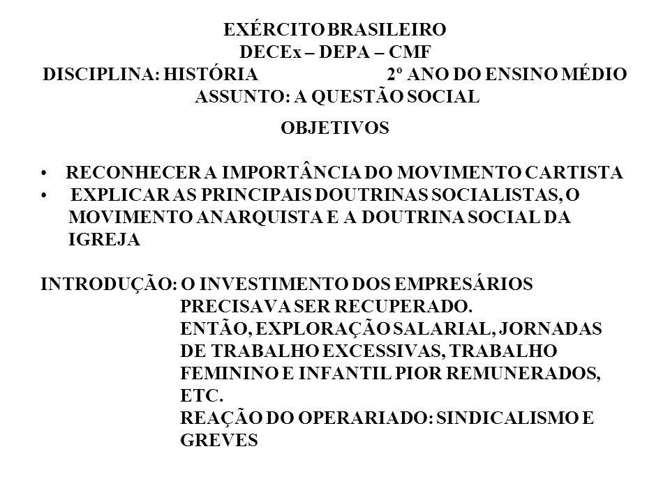 EXÉRCITO BRASILEIRO DECEx – DEPA – CMF DISCIPLINA: HISTÓRIA 2º ANO DO ENSINO MÉDIO ASSUNTO: A QUESTÃO SOCIAL OBJETIVOS RECONHECER A IMPORTÂNCIA DO MOV