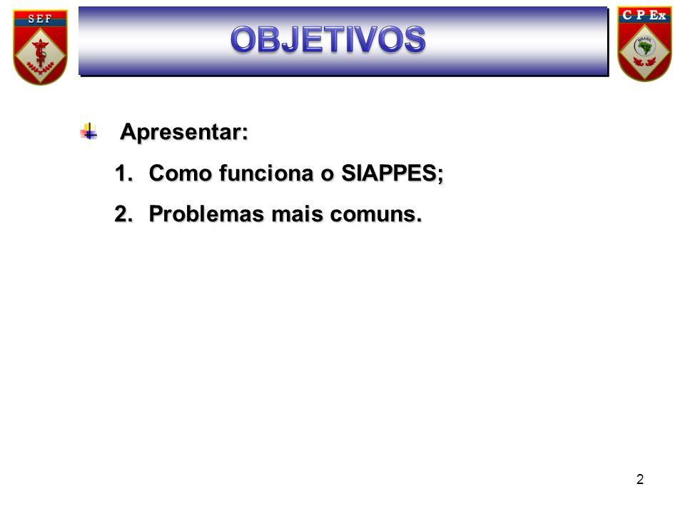 2 SUMÁRIO Apresentar: Apresentar: 1.Como funciona o SIAPPES; 2.Problemas mais comuns.