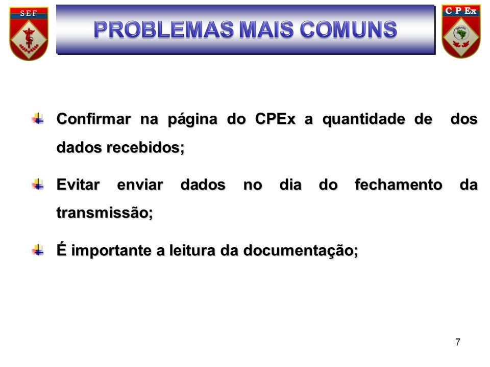7 SUMÁRIO Confirmar na página do CPEx a quantidade de dos dados recebidos; Evitar enviar dados no dia do fechamento da transmissão; É importante a lei