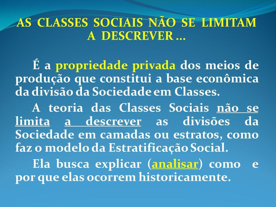 AS CLASSES SOCIAIS NÃO SE LIMITAM A DESCREVER... É a propriedade privada dos meios de produção que constitui a base econômica da divisão da Sociedade