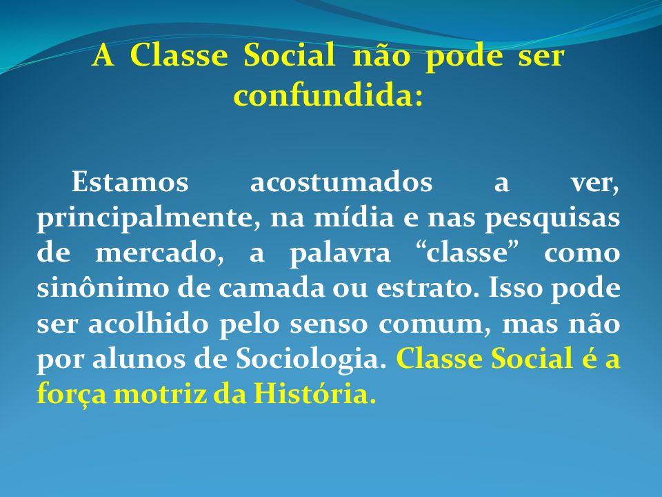 A Classe Social não pode ser confundida: Estamos acostumados a ver, principalmente, na mídia e nas pesquisas de mercado, a palavra classe como sinônim