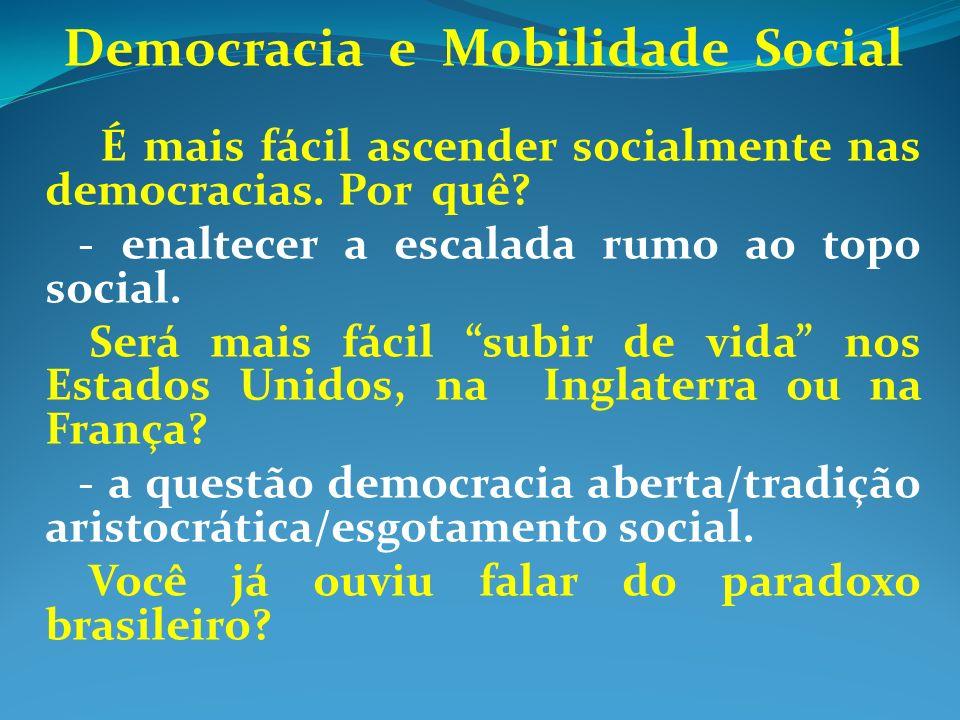 Democracia e Mobilidade Social É mais fácil ascender socialmente nas democracias. Por quê? - enaltecer a escalada rumo ao topo social. Será mais fácil