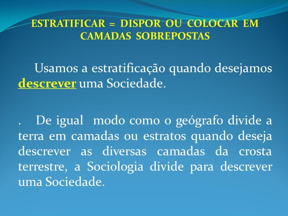 ESTRATIFICAR MODOS DIVERSOS Estratificação Econômica: - Definida pela posse de bens materiais.