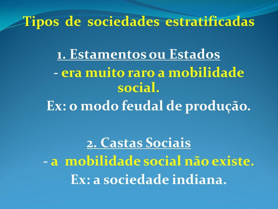Tipos de sociedades estratificadas 1. Estamentos ou Estados - era muito raro a mobilidade social. Ex: o modo feudal de produção. 2. Castas Sociais - a
