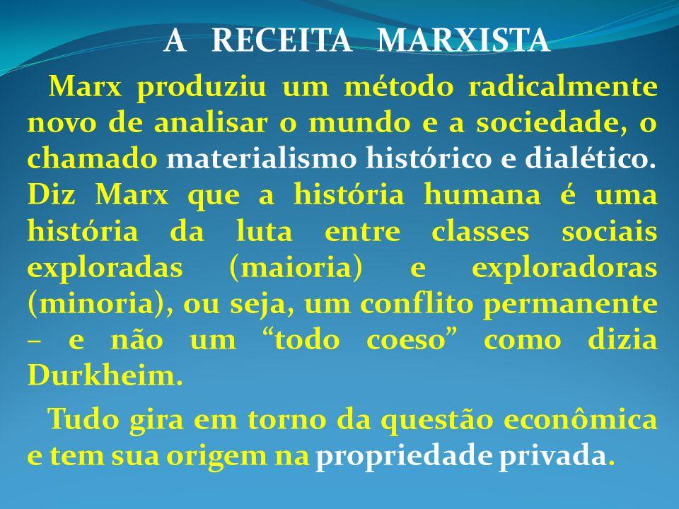 A RECEITA MARXISTA Marx produziu um método radicalmente novo de analisar o mundo e a sociedade, o chamado materialismo histórico e dialético. Diz Marx