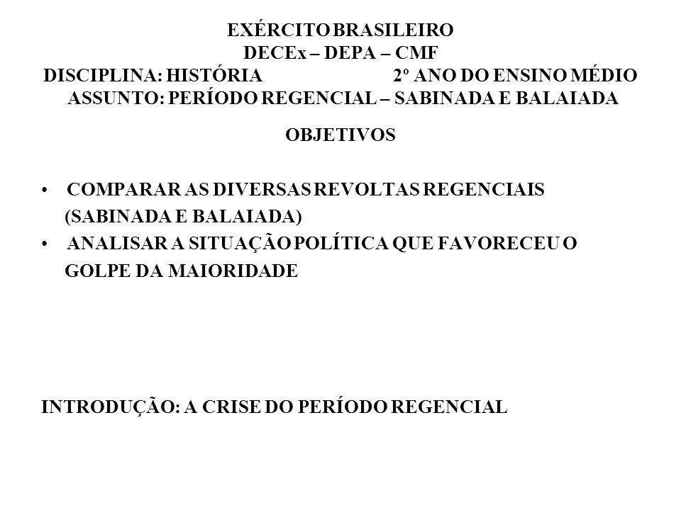 EXÉRCITO BRASILEIRO DECEx – DEPA – CMF DISCIPLINA: HISTÓRIA 2º ANO DO ENSINO MÉDIO ASSUNTO: PERÍODO REGENCIAL – SABINADA E BALAIADA OBJETIVOS COMPARAR