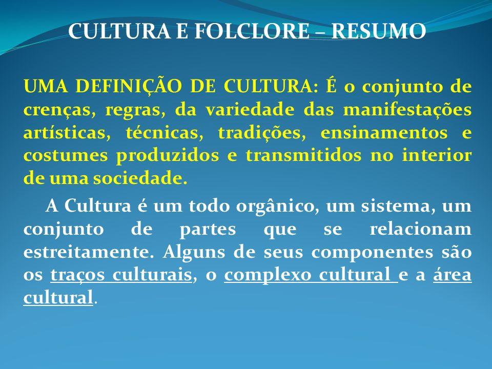 CULTURA E FOLCLORE – RESUMO UMA DEFINIÇÃO DE CULTURA: É o conjunto de crenças, regras, da variedade das manifestações artísticas, técnicas, tradições, ensinamentos e costumes produzidos e transmitidos no interior de uma sociedade.