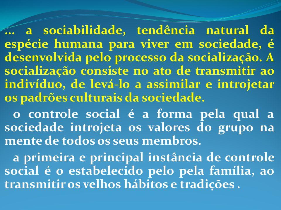 ... a sociabilidade, tendência natural da espécie humana para viver em sociedade, é desenvolvida pelo processo da socialização. A socialização consist