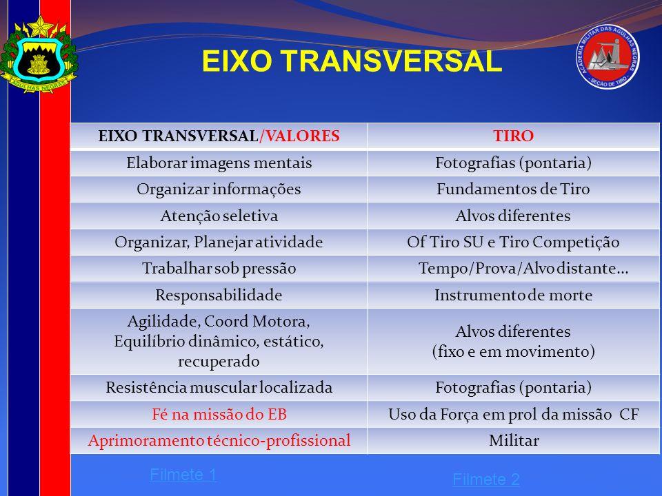 EIXO TRANSVERSAL EIXO TRANSVERSAL/VALORESTIRO Elaborar imagens mentaisFotografias (pontaria) Organizar informaçõesFundamentos de Tiro Atenção seletiva